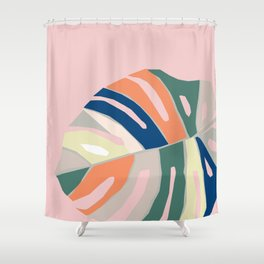 monstera plant leaf paper collage mid century modern Shower Curtain