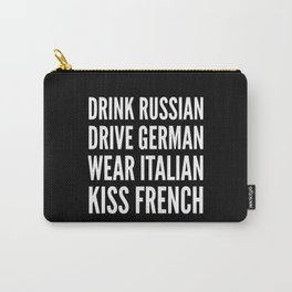 Russian German Italian French (Black & White) Carry-All Pouch