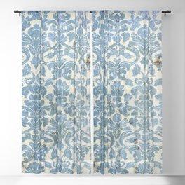 Vintage Antique Blue Wallpaper Pattern Sheer Curtain