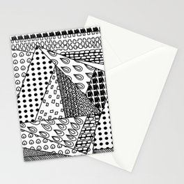 simple doodles in the square . Stationery Cards