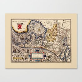 Map Of The Netherlands 1574 Canvas Print