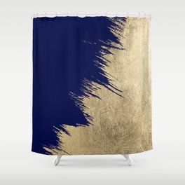 Navy blue abstract faux gold brushstrokes Shower Curtain