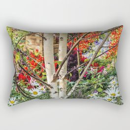Rural landscape with a birch tree Rectangular Pillow