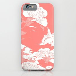 Living Coral japanese Flowers iPhone Case
