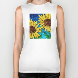 Garden Twins - Best friends...beautiful sunflowers by Labor of Love artist Sharon Cummings Biker Tank