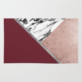 Marble Rose Gold Red Wine Triangle Geometric Rug