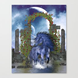 Blue Unicorn 2 Canvas Print