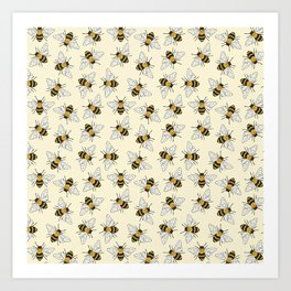 Busy Bees on buttermilk Pattern Art Print