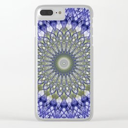 Mandala in blue and olive tones Clear iPhone Case