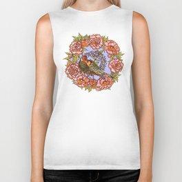 Lovebirds With Peony Wreath Biker Tank
