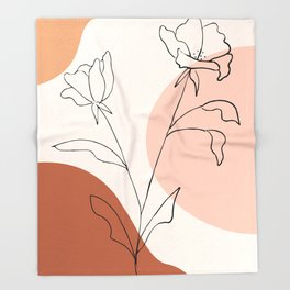 Poppies line drawing Throw Blanket