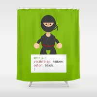 pun Shower Curtains featuring CSS Pun - Ninja by iwantdesigns