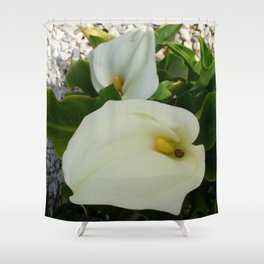 Overhead View Of Two Calla Lilies In A Garden Shower Curtain