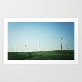 Kansas Windmills Art Print