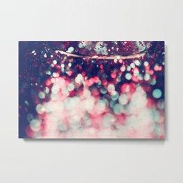 Pinky Blue Glitter Bokeh Blur Metal Print