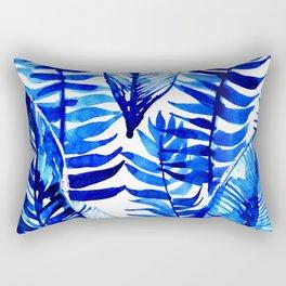 Jungle Leaves & Ferns in Blue Rectangular Pillow