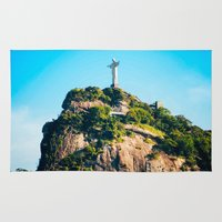 christ Area & Throw Rugs featuring Christ Redeemer by Edgard Mello