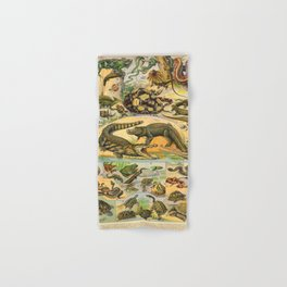 Reptiles Chart Nature Vintage Snake Turtle Alligator Hand & Bath Towel