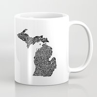 michigan Mugs featuring Typographic Michigan by CAPow!