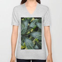 Topical palm leaf, banana leaf, black background, greens, Beach Hawaii decor Unisex V-Neck