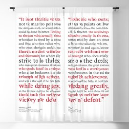 Man in the Arena / Theodore Roosevelt / White Red and Black Blackout Curtain