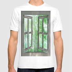 WINDOW TO NATURE Mens Fitted Tee MEDIUM White