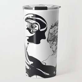 Secret 1.Black on white background. Travel Mug