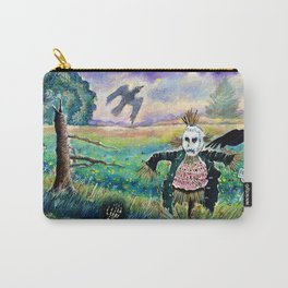 Halloween Field with Funny Scarecrow Skeleton Hand and Crows Carry-All Pouch