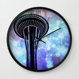 Space Needle - Seattle Stars Clouds Fog Wall Clock