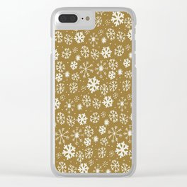 Snowflake Snowstorm With Golden Background Clear iPhone Case