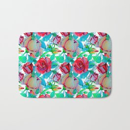 Modern hand painted red teal green watercolor roses floral Bath Mat