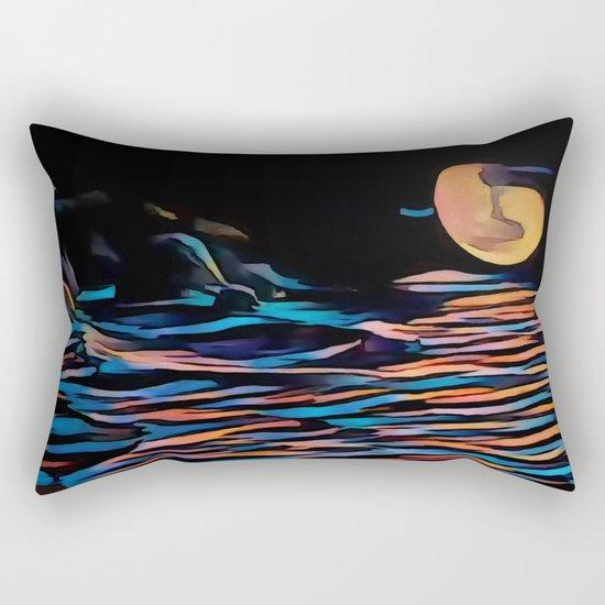 Moon over Beach Rectangular Pillow
