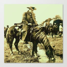 Western Vintage Cowboy At The Watering Hole Canvas Print