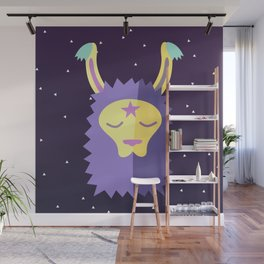 Yacana: The Space Llama Head (Lilac) Wall Mural