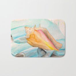 Conch Shell Watercolor Bath Mat