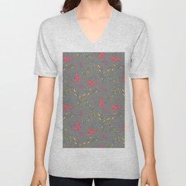 Fall magenta gold yellow mauve gray autumn floral Unisex V-Neck