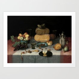 Still Life with Cheese, grapes, wine, bread and more. Finest art from the 17th century. Art Print