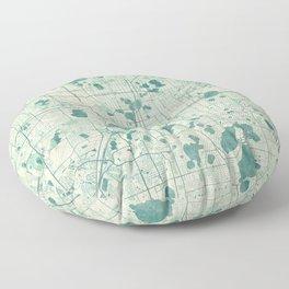 Orlando Map Blue Vintage Floor Pillow