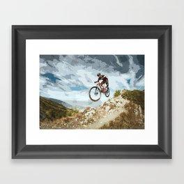 Flying Downhill on a Mountain Bike Framed Art Print