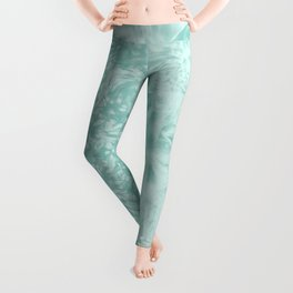 Happy Ghostly alpaca and mandala in Limpet Shell Blue Leggings
