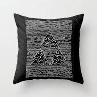 joy division Throw Pillows featuring Triforce // Joy Division by Daniel Mackey