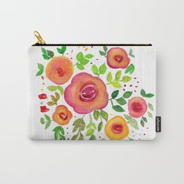 Bright Flowers Floral Bouquet - Watercolor Painting Carry-All Pouch
