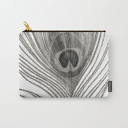 Black and White Peacock Feather Carry-All Pouch