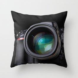 DSLR camera on black Throw Pillow