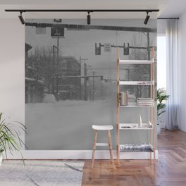 Snow Storm in Downtown - One Way Wall Mural