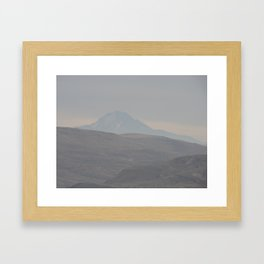 Mountain in the mist by Laila Cichos Framed Art Print