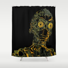 Geometric Black and Gold Robot Shower Curtain