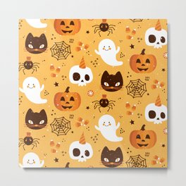 Halloween with Ghosts, Spiders, Pumpkin & Cats Metal Print