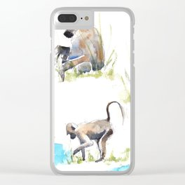 Baboon life Clear iPhone Case