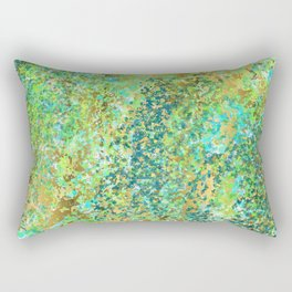 Lively Patina with Lime, Teal and Turquoise with Gold Design Rectangular Pillow